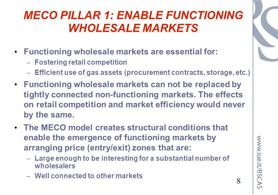 MECO PILLAR 1: ENABLE FUNCTIONING WHOLESALE MARKETS