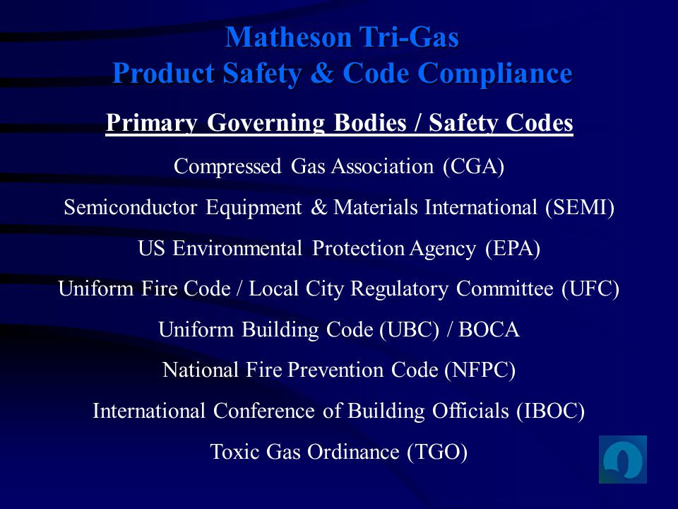 Matheson Tri-Gas Product Safety & Code Compliance