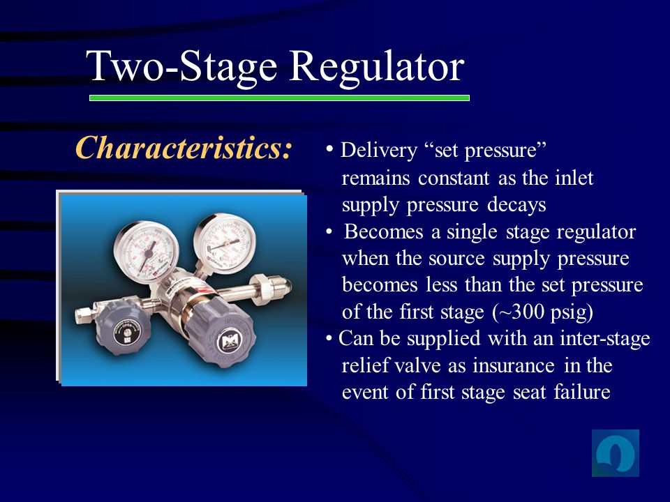 Two-Stage Regulator Characteristics: Delivery set pressure