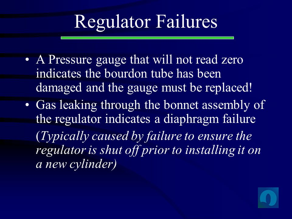 Regulator Failures A Pressure gauge that will not read zero indicates the bourdon tube has been damaged and the gauge must be replaced!