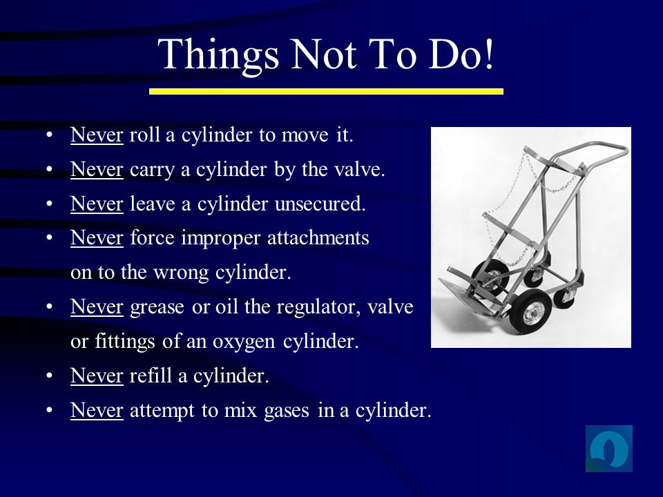 Things Not To Do! Never roll a cylinder to move it.