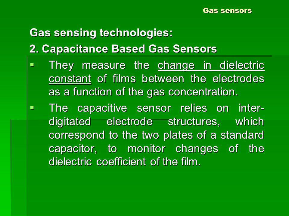 Gas sensing technologies: 2. Capacitance Based Gas Sensors