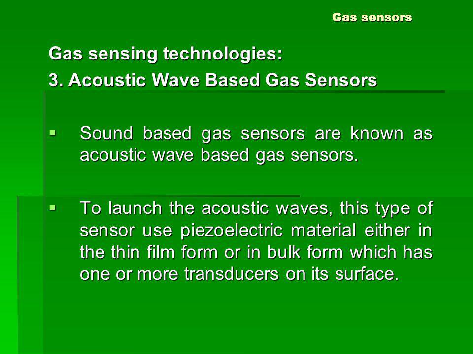 Gas sensing technologies: 3. Acoustic Wave Based Gas Sensors
