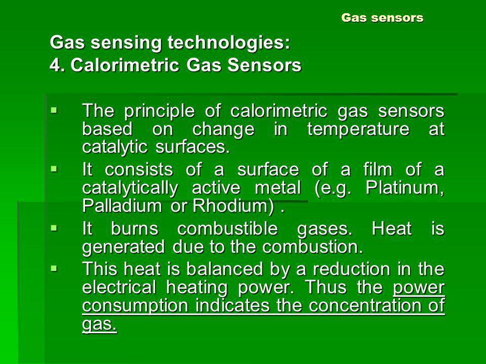 Gas sensing technologies: 4. Calorimetric Gas Sensors