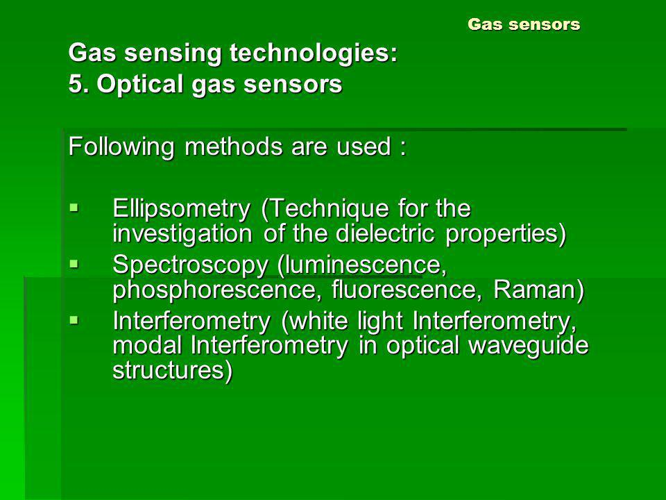 Gas sensing technologies: 5. Optical gas sensors