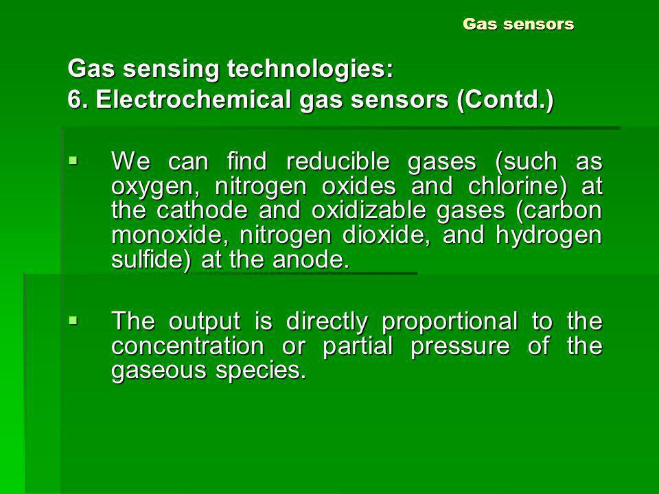 Gas sensing technologies: 6. Electrochemical gas sensors (Contd.)