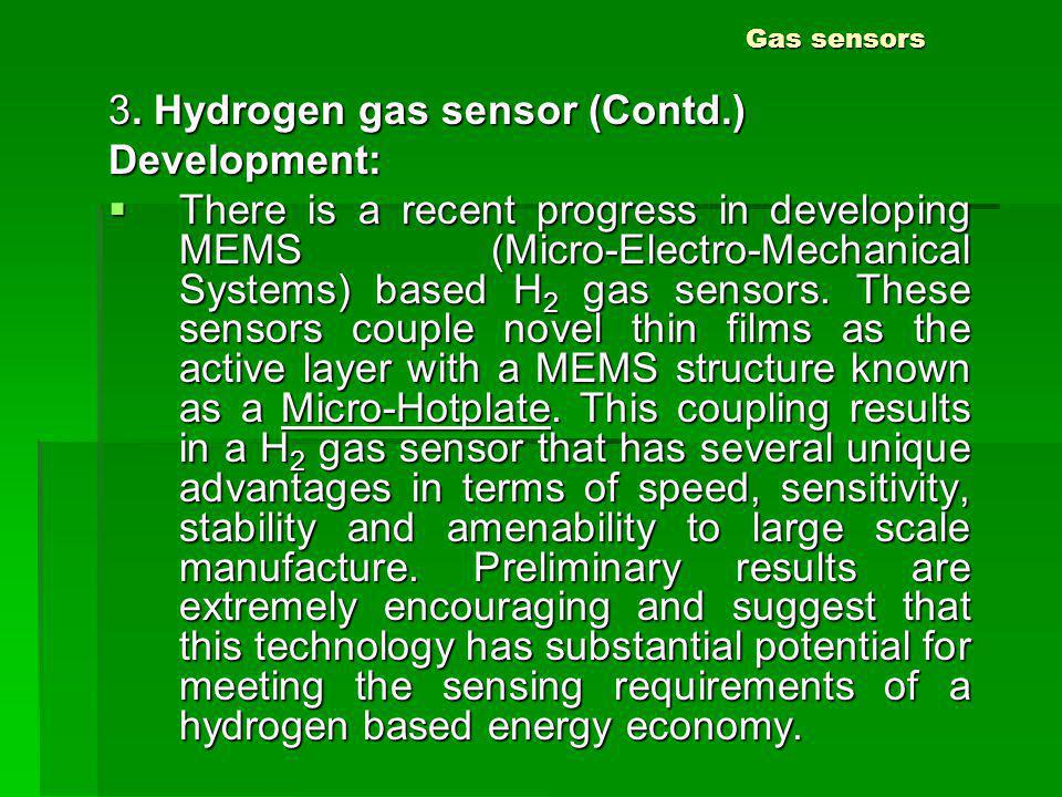 3. Hydrogen gas sensor (Contd.) Development:
