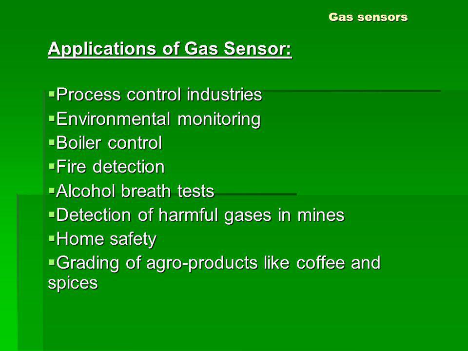 Applications of Gas Sensor: Process control industries