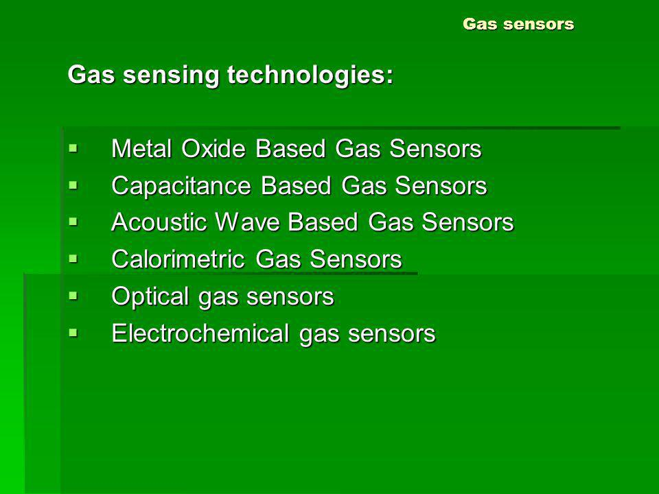 Gas sensing technologies: Metal Oxide Based Gas Sensors