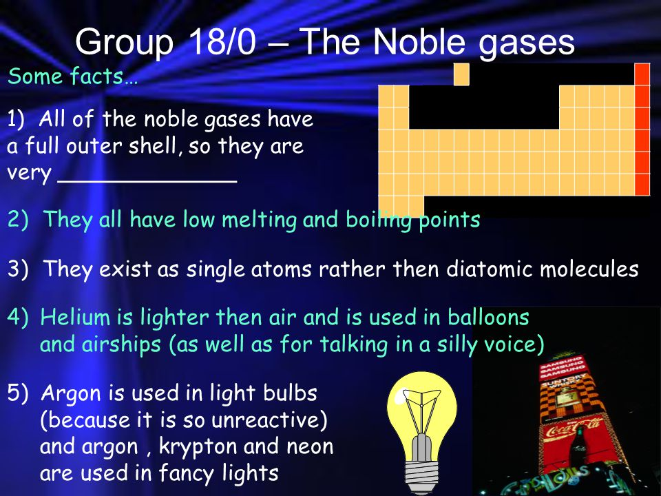 Group 18/0 – The Noble gases