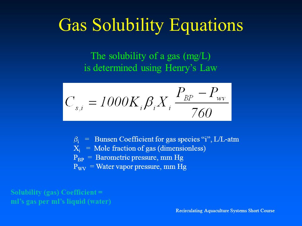 Gas Solubility Equations