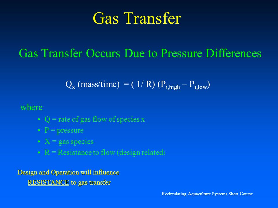 Gas Transfer Gas Transfer Occurs Due to Pressure Differences