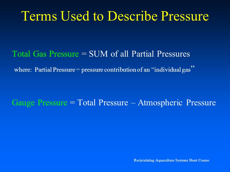 Terms Used to Describe Pressure