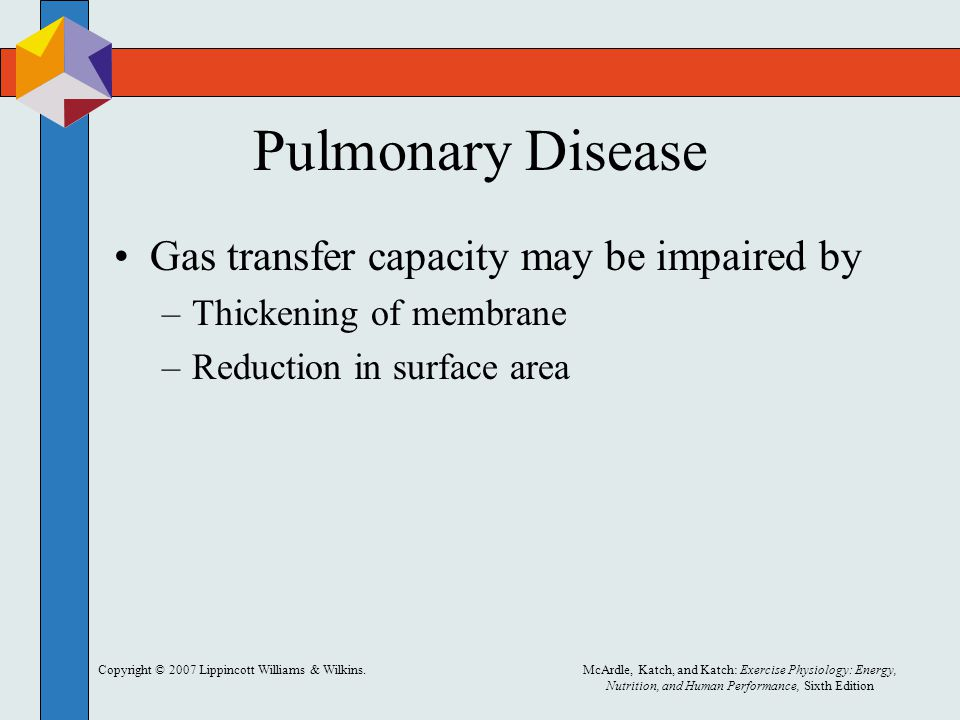 Pulmonary Disease Gas transfer capacity may be impaired by