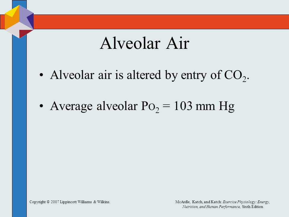 Alveolar Air Alveolar air is altered by entry of CO2.