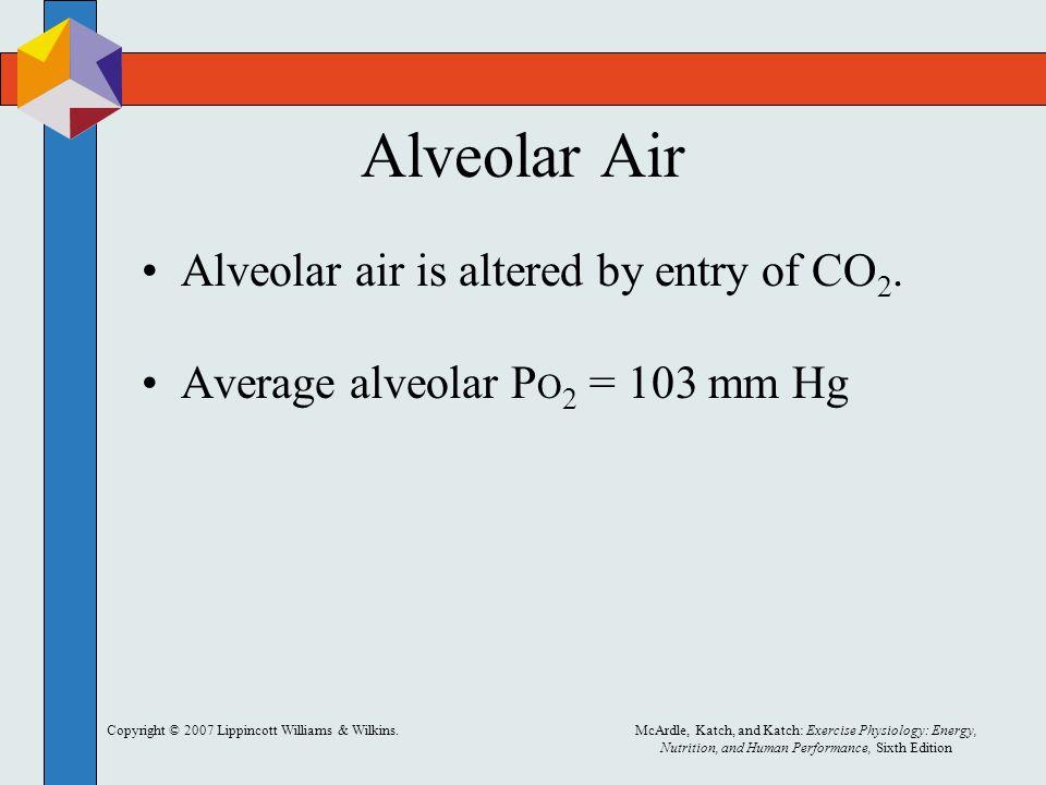Alveolar Air Alveolar air is altered by entry of CO2.