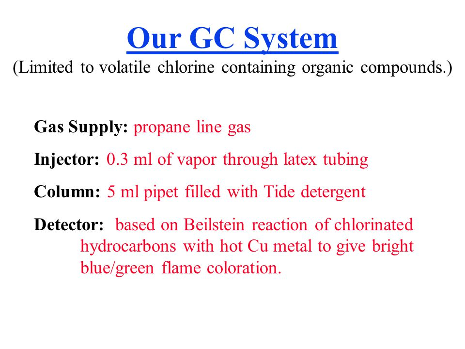 Our GC System (Limited to volatile chlorine containing organic compounds.)