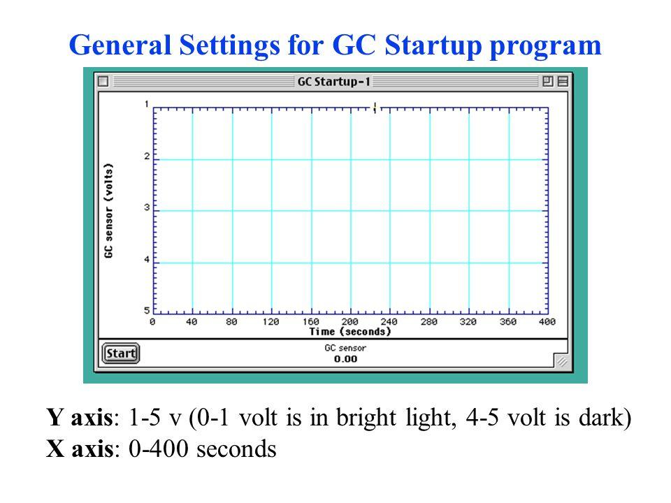 General Settings for GC Startup program