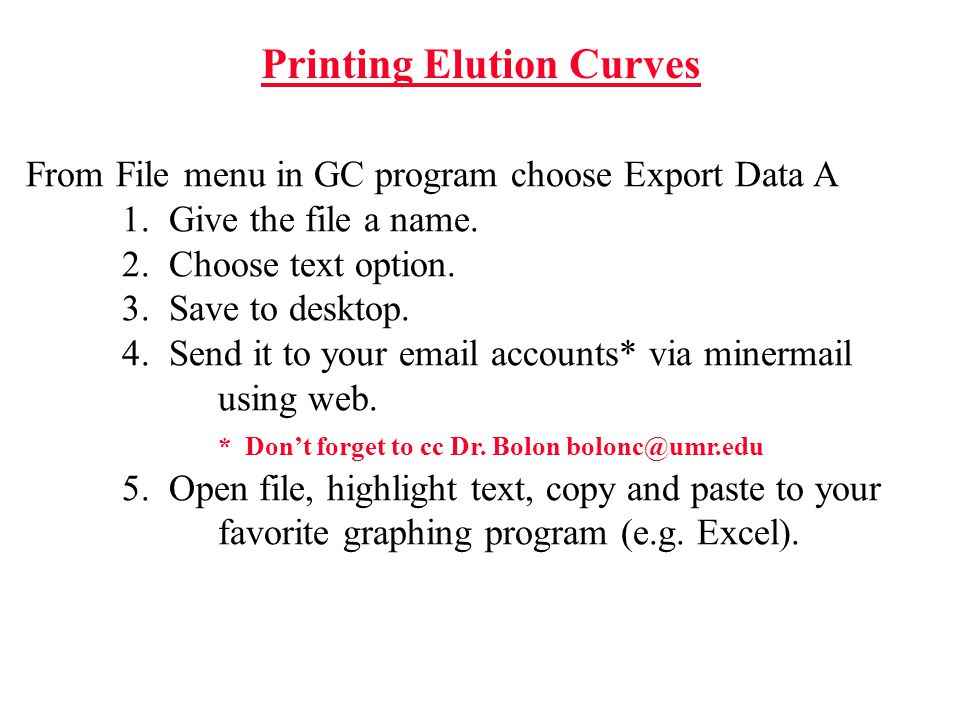 Printing Elution Curves