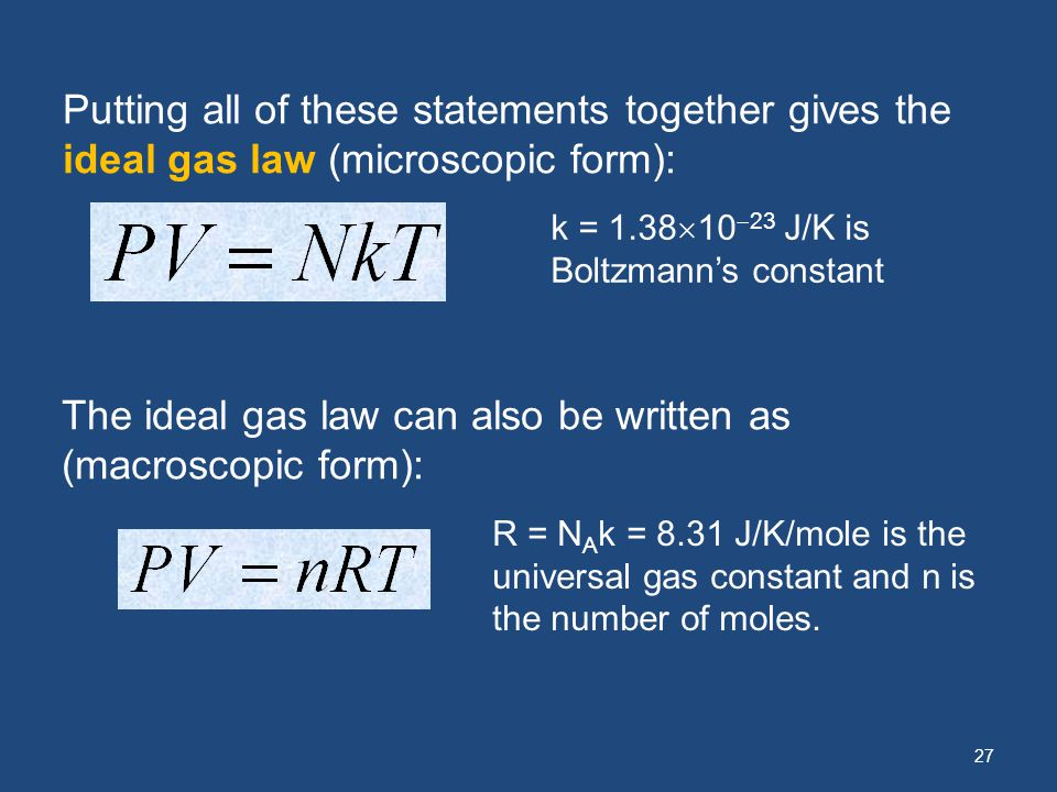 The ideal gas law can also be written as (macroscopic form):