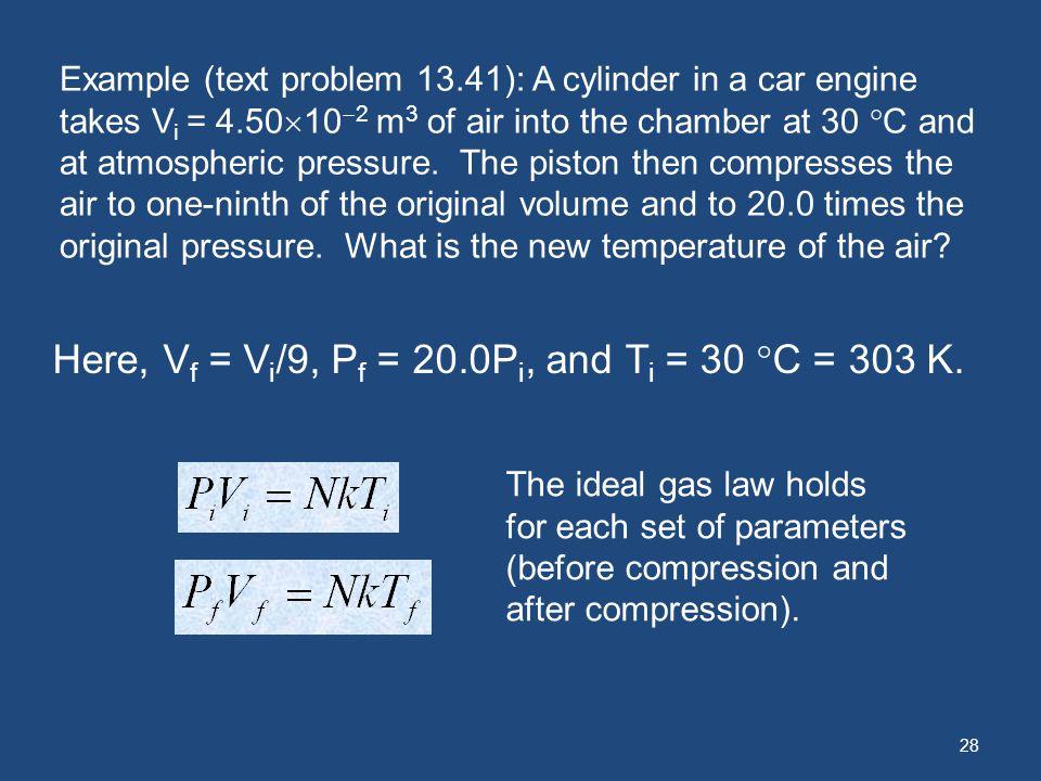 Here, Vf = Vi/9, Pf = 20.0Pi, and Ti = 30 C = 303 K.