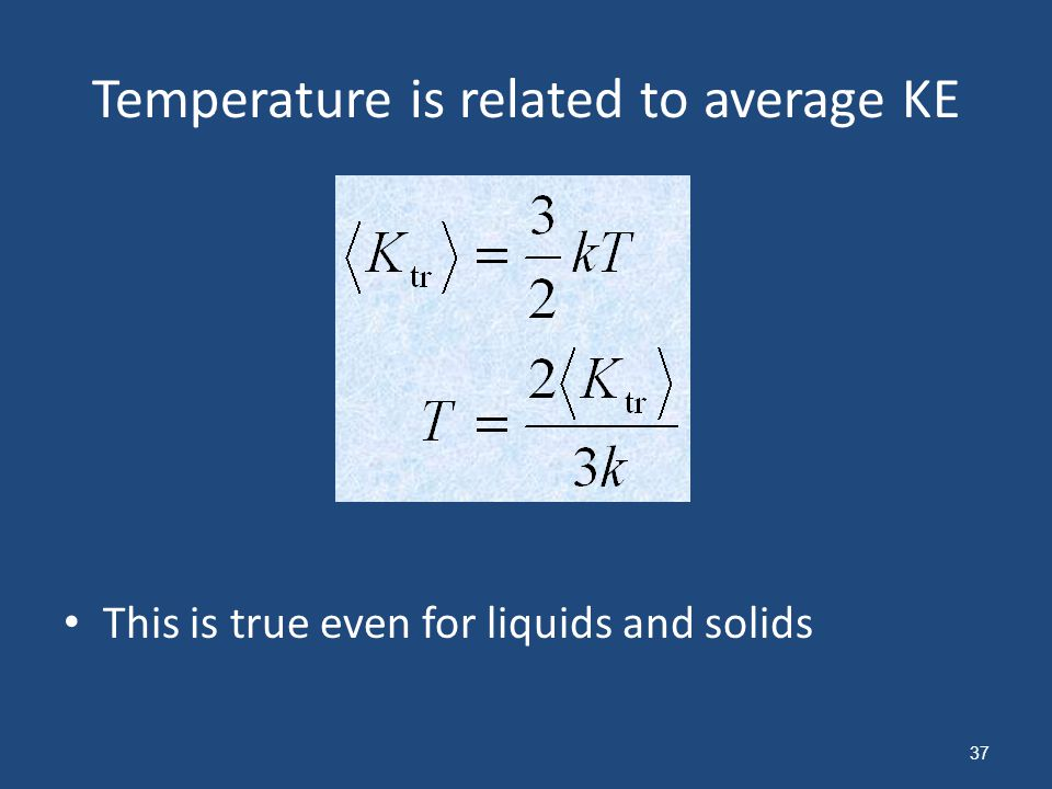 Temperature is related to average KE