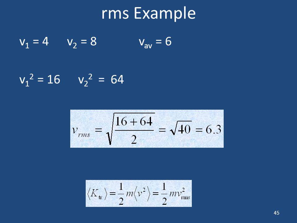 rms Example v1 = 4 v2 = 8 vav = 6 v12 = 16 v22 = 64