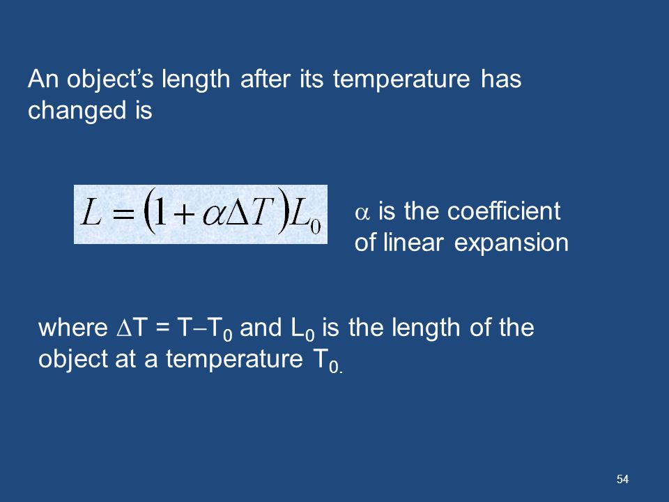 An object's length after its temperature has changed is