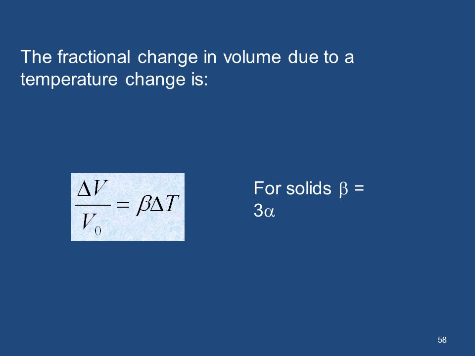The fractional change in volume due to a temperature change is: