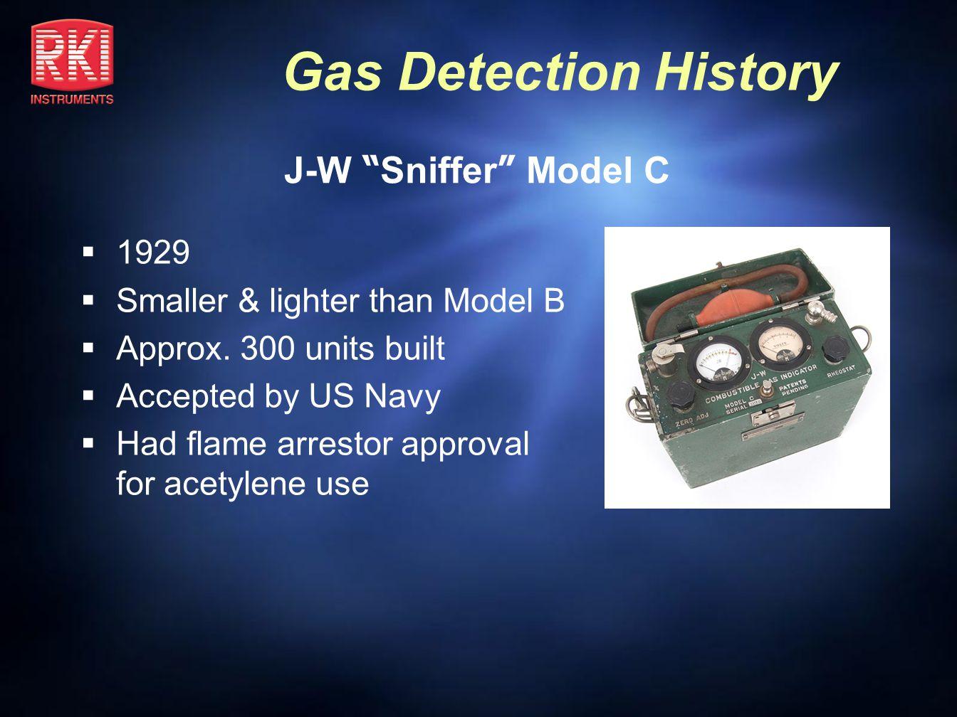 J-W Sniffer Model C 1929 Smaller & lighter than Model B