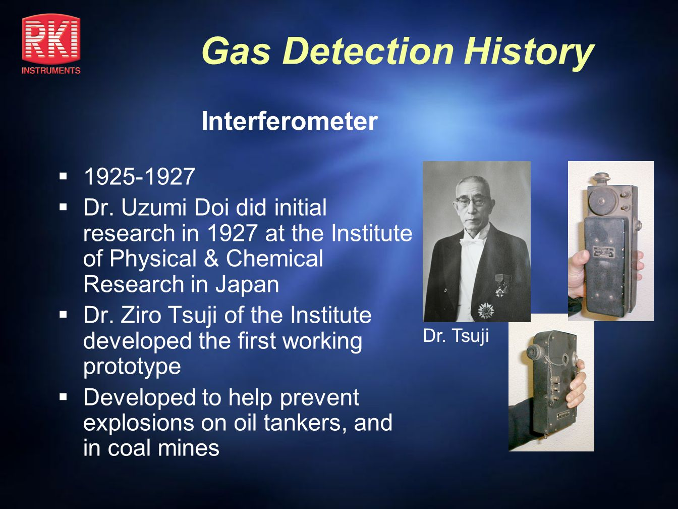 Interferometer 1925-1927. Dr. Uzumi Doi did initial research in 1927 at the Institute of Physical & Chemical Research in Japan.