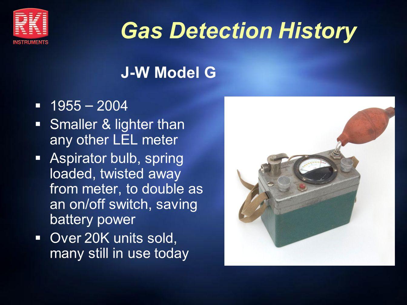 J-W Model G 1955 – 2004 Smaller & lighter than any other LEL meter