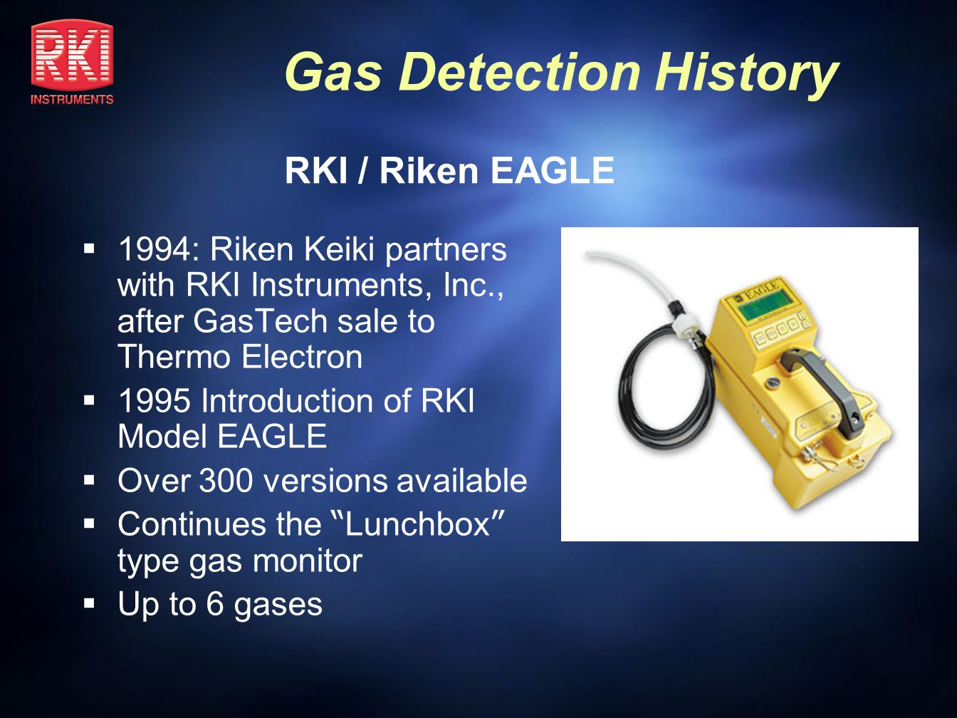 RKI / Riken EAGLE 1994: Riken Keiki partners with RKI Instruments, Inc., after GasTech sale to Thermo Electron.