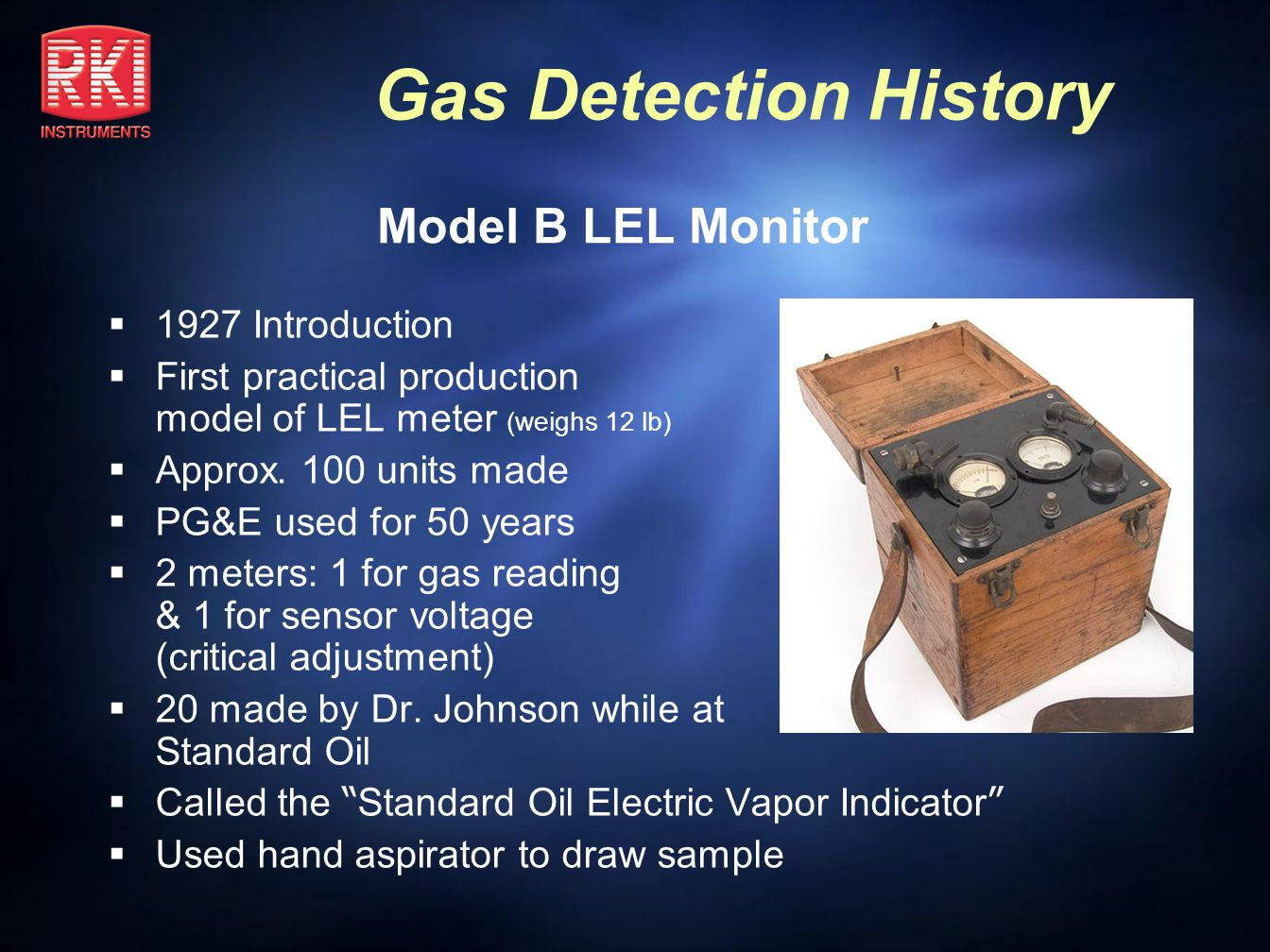 Model B LEL Monitor 1927 Introduction