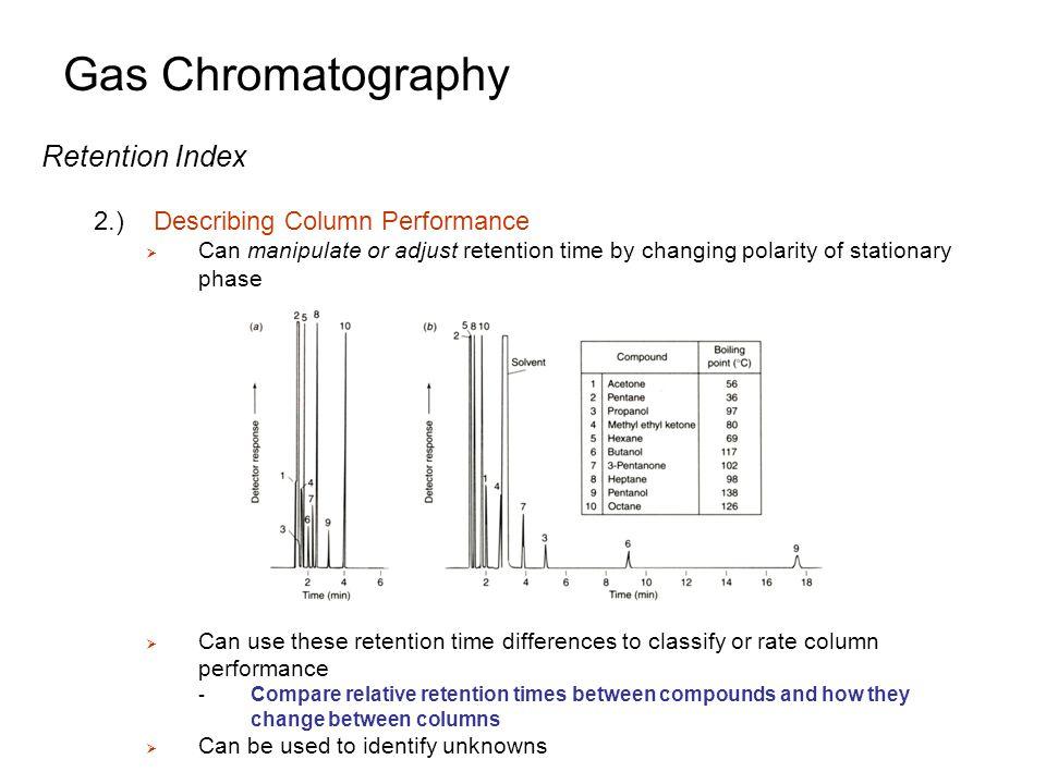Gas Chromatography Retention Index 2.) Describing Column Performance
