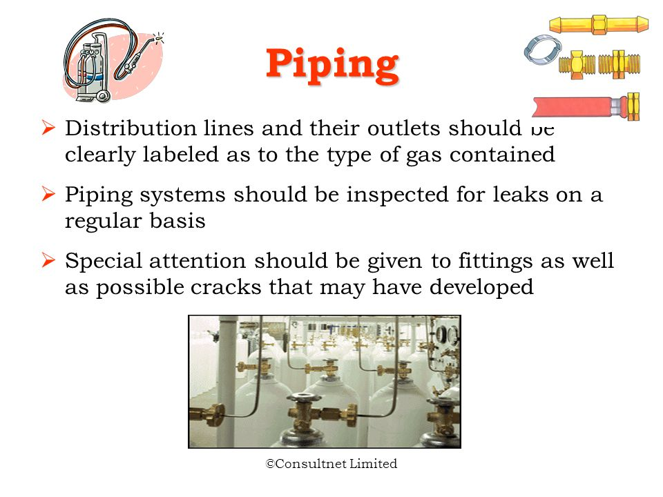 Piping Distribution lines and their outlets should be clearly labeled as to the type of gas contained.