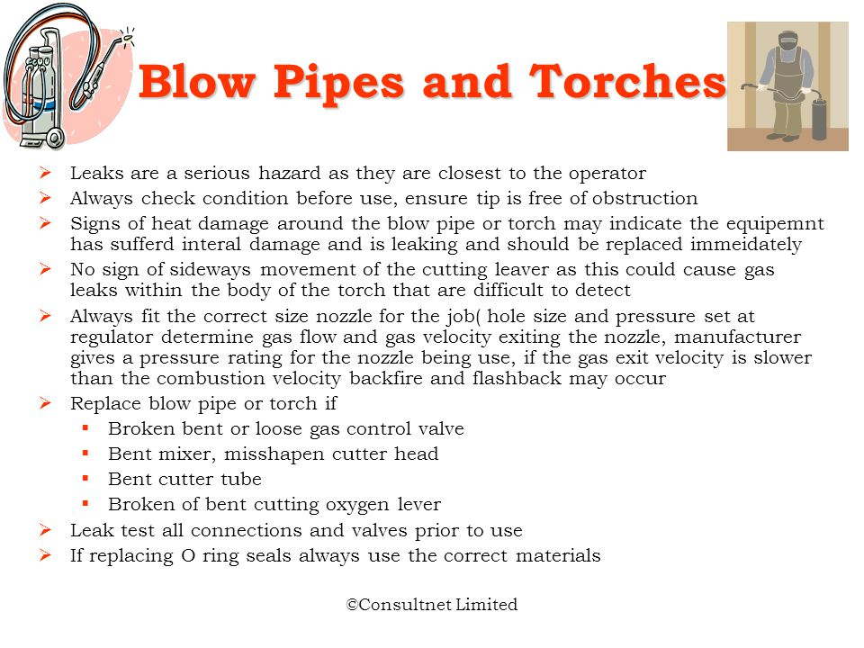 Blow Pipes and Torches Leaks are a serious hazard as they are closest to the operator.