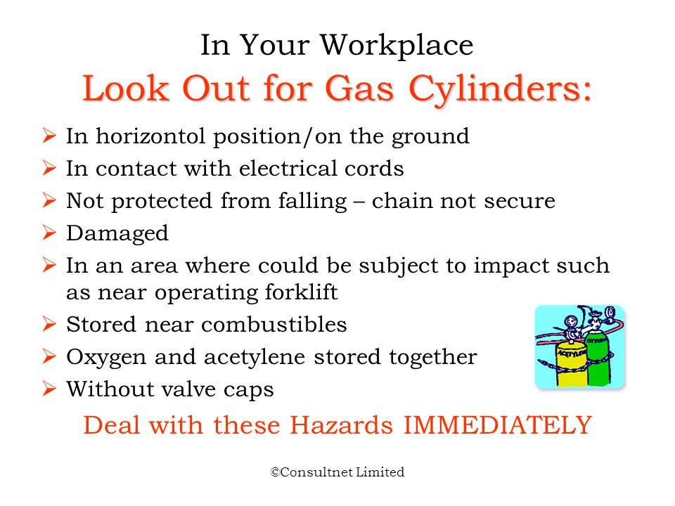 In Your Workplace Look Out for Gas Cylinders: