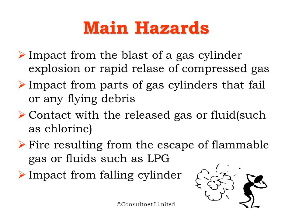 Main Hazards Impact from the blast of a gas cylinder explosion or rapid relase of compressed gas.