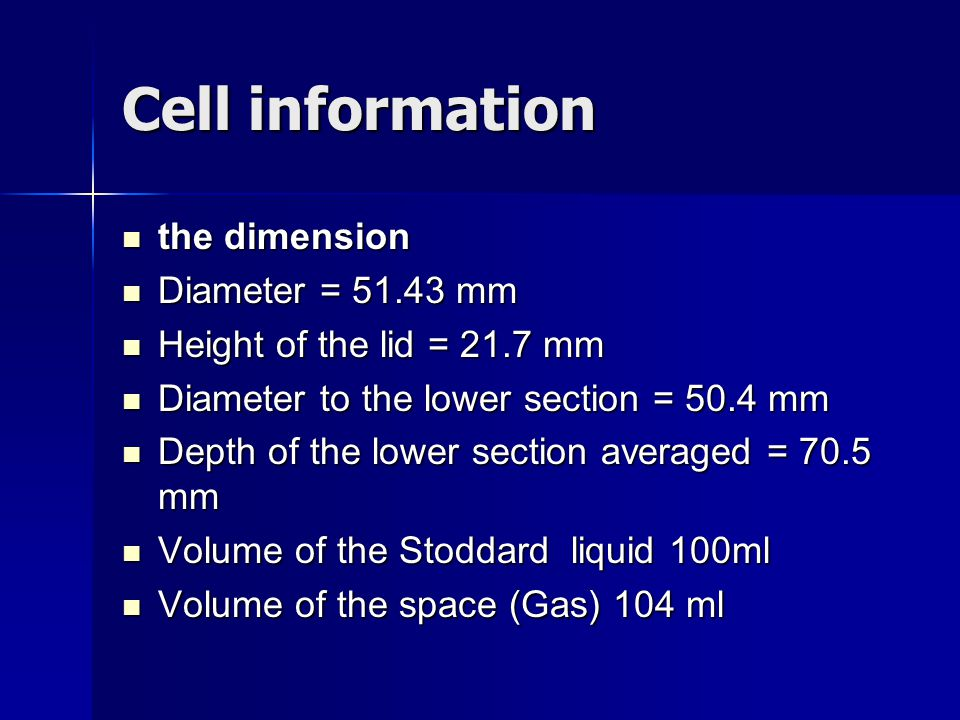 Cell information the dimension Diameter = mm
