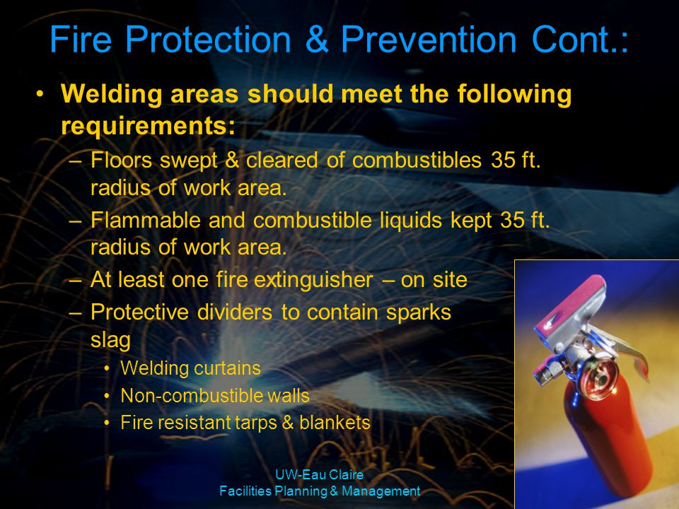 Fire Protection & Prevention Cont.:
