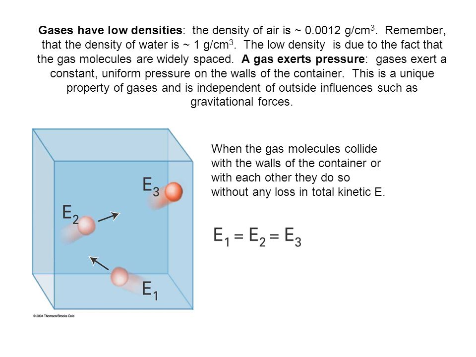 Gases have low densities: the density of air is ~ 0. 0012 g/cm3