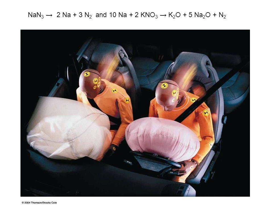 NaN3 → 2 Na + 3 N2 and 10 Na + 2 KNO3 → K2O + 5 Na2O + N2