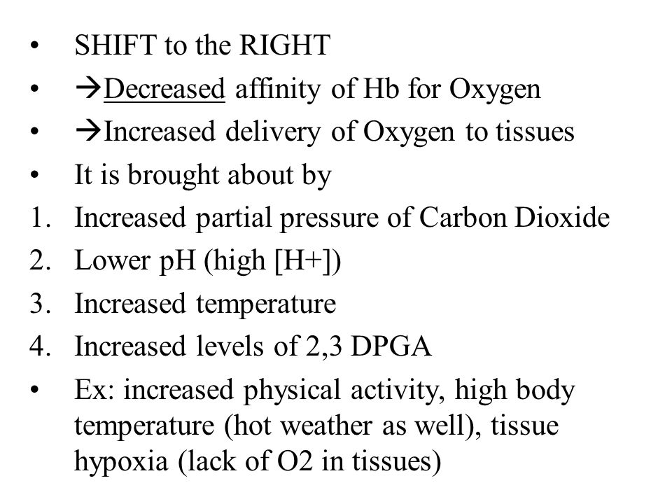 SHIFT to the RIGHT Decreased affinity of Hb for Oxygen. Increased delivery of Oxygen to tissues.