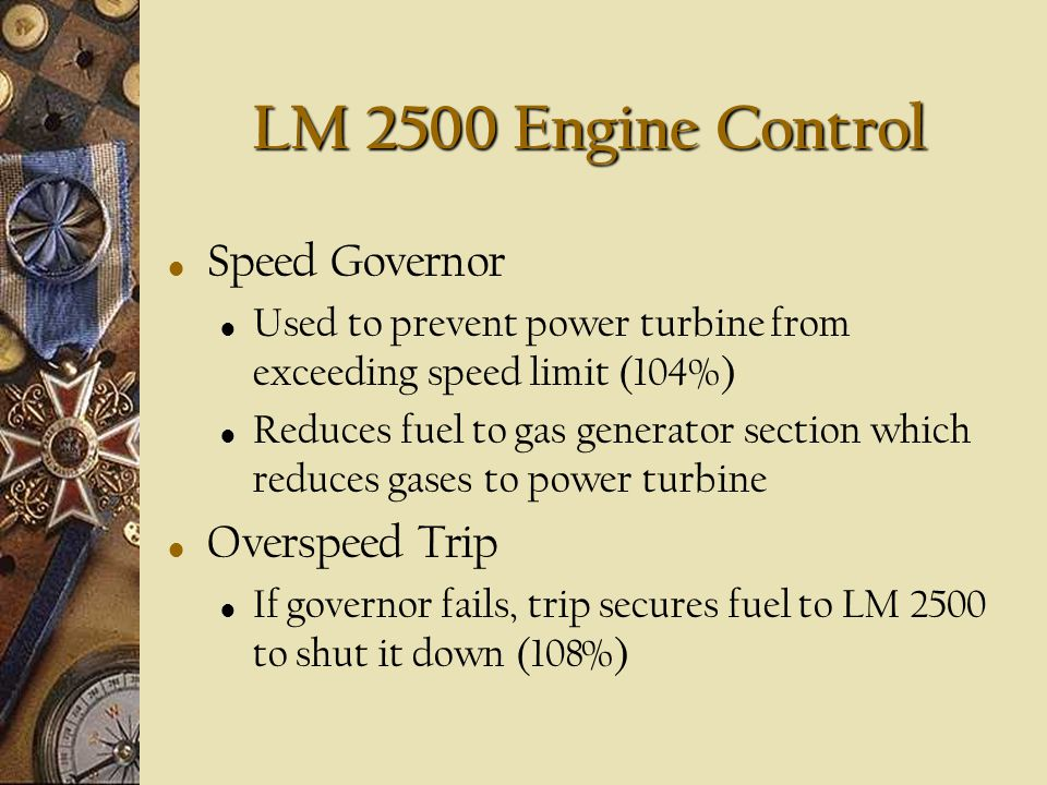LM 2500 Engine Control Speed Governor Overspeed Trip
