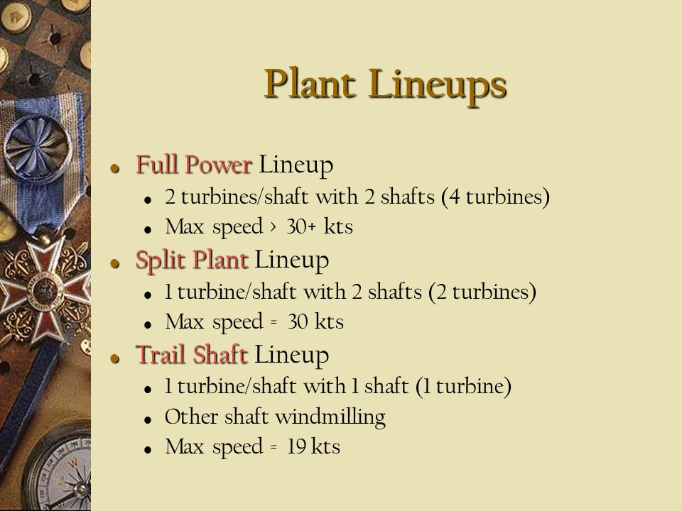 Plant Lineups Full Power Lineup Split Plant Lineup Trail Shaft Lineup