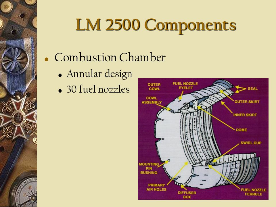 LM 2500 Components Combustion Chamber Annular design 30 fuel nozzles