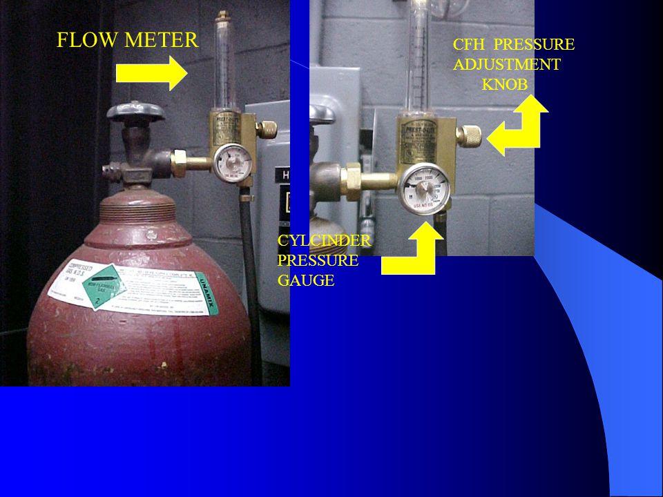 FLOW METER CFH PRESSURE ADJUSTMENT KNOB CYLCINDER PRESSURE GAUGE