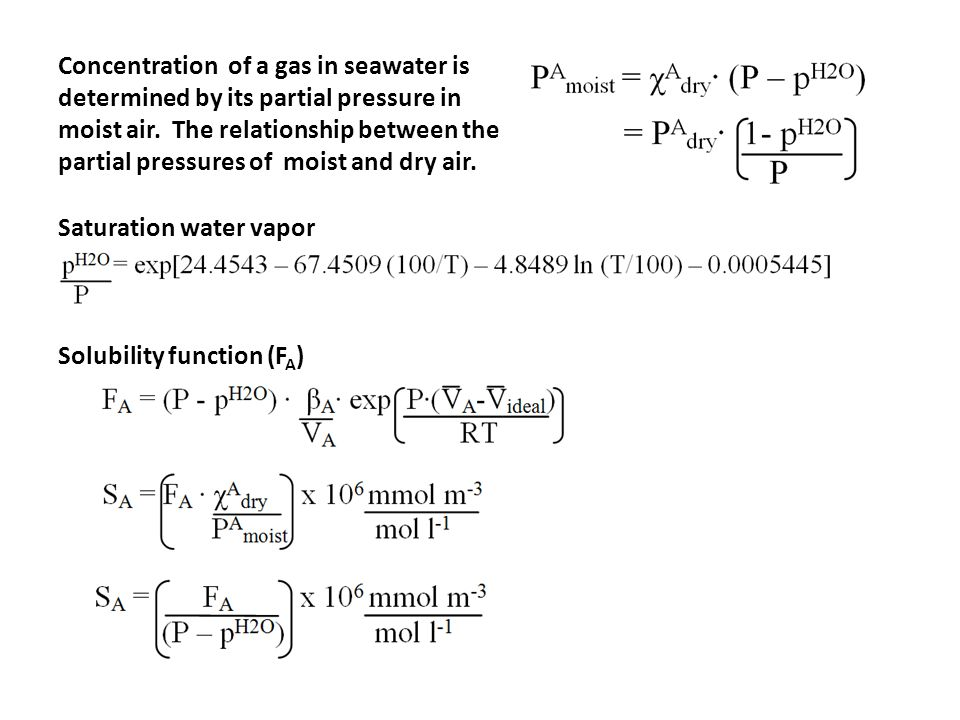 Concentration of a gas in seawater is determined by its partial pressure in moist air. The relationship between the partial pressures of moist and dry air.
