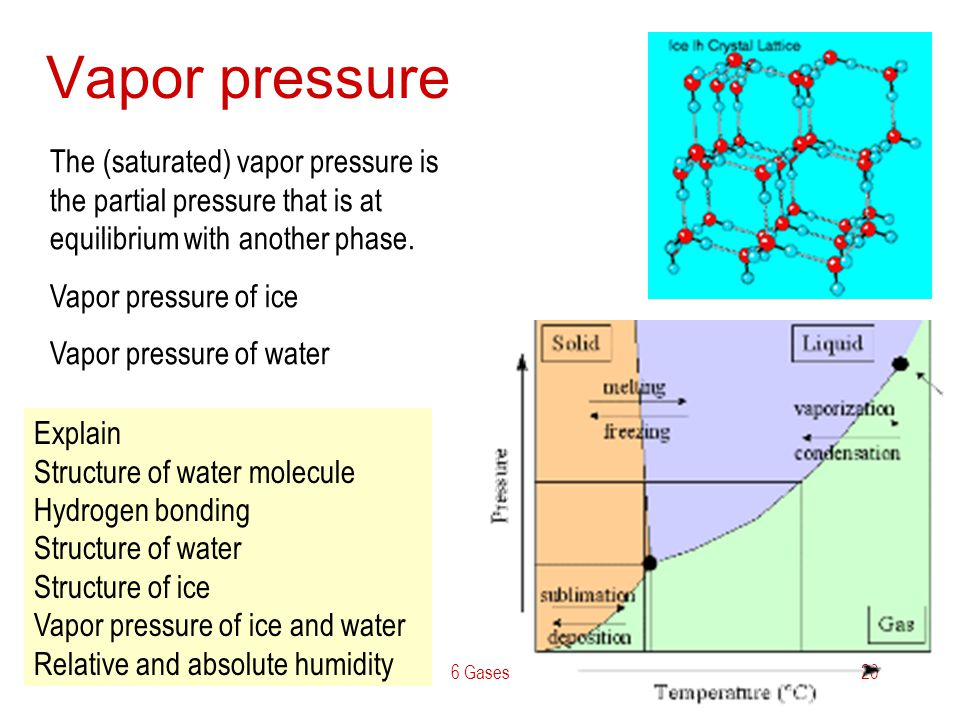 Vapor pressure The (saturated) vapor pressure is the partial pressure that is at equilibrium with another phase.